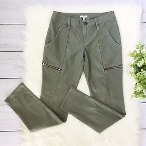 Joie Green Skinny Zip Pockets Pants SZ 0 #371